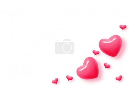 Photo for Abstract pink hearts on white background for valentines day, wedding and greeting cards. Copy space for text. 3D illustration - Royalty Free Image