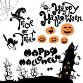 Set of Halloween elements - pumpkin cat mystery house and othe
