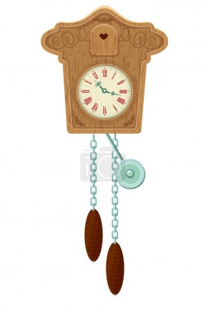 vintage wooden Cuckoo Clock - object isolated on white backgroun
