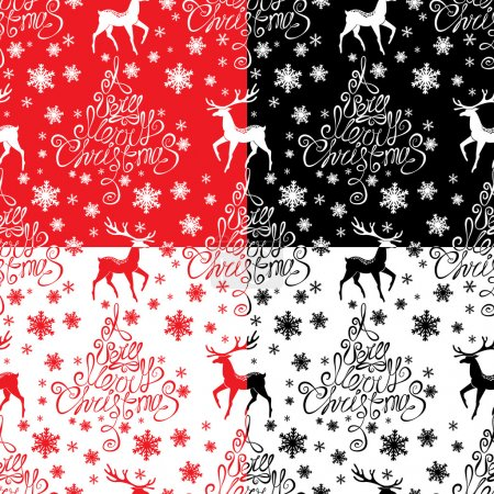 Seamless pattern with calligraphic text A Very Merry Christmas,