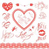 Set of holiday card design elements Happy Valentines Day Call