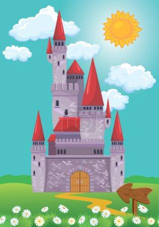 Fairy Tale magic Princess Castle, summer season, illustration fo