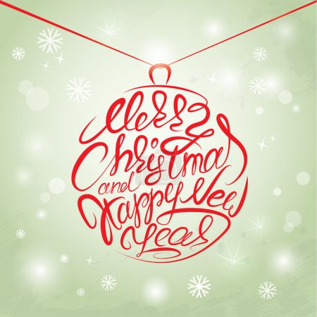 Merry Christmas and Happy New Year Card, calligraphy handwritten