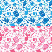 Set of seamless patterns in pink and blue colors with childrens