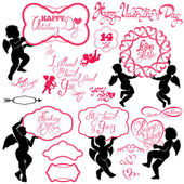 Set of cute angels Calligraphic text Happy Valentine`s Day hea