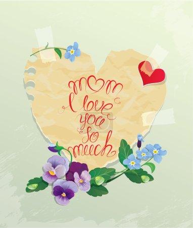 Illustration pour Bonne carte de la fête des mères. Coeur est fait de vieux papier avec marguerite et m'oublier pas de fleurs autour, texte calligraphique Maman je t'aime tellement . - image libre de droit