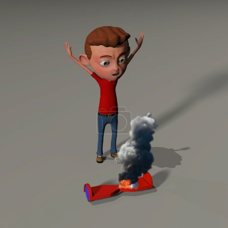 boy upset over his burning hover board