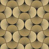 Seamless vintage pattern of gold overlapping arcs in art deco style each color in separate layer