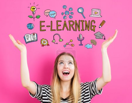 E-Learning concept with young woman