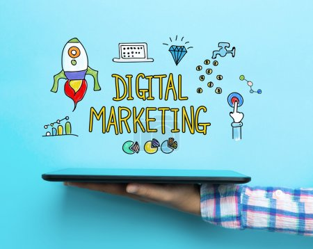 Photo for Digital Marketing concept with a tablet on blue background - Royalty Free Image