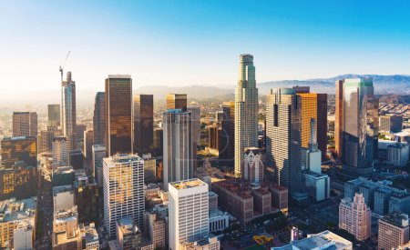 Photo for Aerial view of a Downtown Los Angeles at sunset - Royalty Free Image