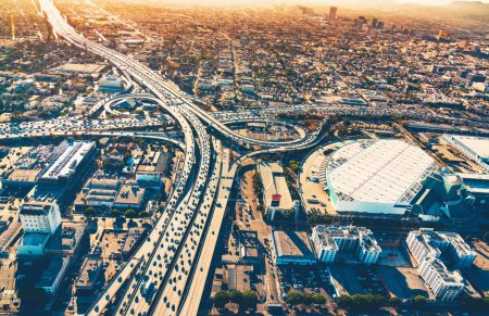Photo for Aerial view of a massive highway intersection in Los Angeles - Royalty Free Image