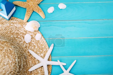 Hat, Shells and Starfish on Table