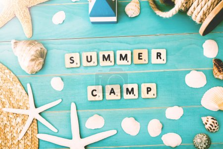 Wood Blocks on a Table for Summer Camp Concept