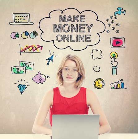 Make Money Online concept and woman with laptop