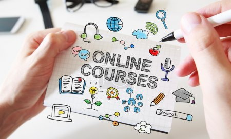 Hand drawing Online Courses concept
