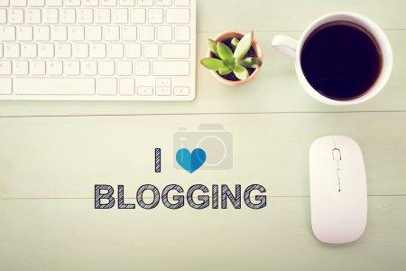 I Love Blogging concept with workstation