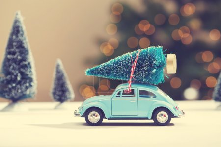 Photo for Car carrying a Christmas tree in a miniature evergreen forest - Royalty Free Image
