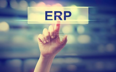 Photo for ERP - Enterprise Resource Planning concept with hand pressing a button on blurred abstract background - Royalty Free Image