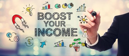 Businessman drawing Boost Your Income concept