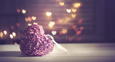 Photo for Pink heart on heart shaped abstract light background - Royalty Free Image