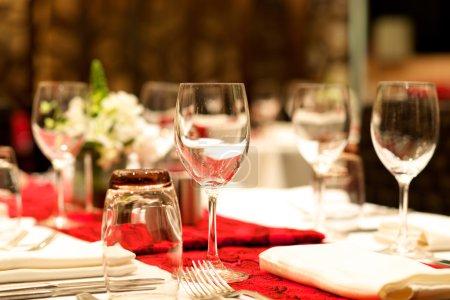 Wedding Dinner banquet table set up...