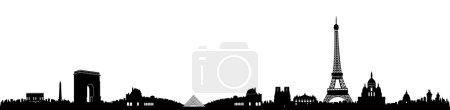 Black and White Paris Skyline Silhouette
