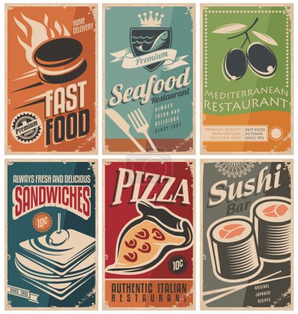 Illustration for Vintage collection of food and restaurants posters - Royalty Free Image