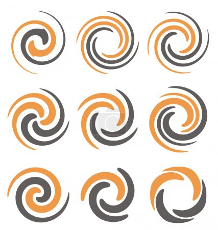 Illustration for Set of spiral and swirls logo design elements, icons, symbols and signs. - Royalty Free Image