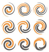 Set of spiral and swirls logo design elements icons symbols and signs