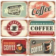 Set of vintage coffee tin signs. Retro coffee shop...