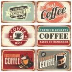 Set of vintage coffee tin signs. Retro coffee shop...