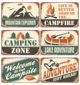 Camping retro signs collection