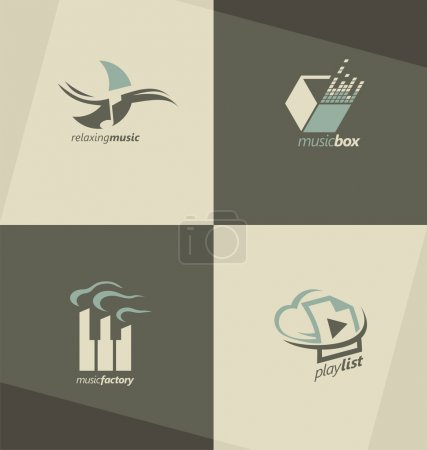 Set of music vector symbols, logos and icons