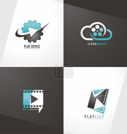Illustration pour Collection de modèles de conception de logo de film. Film symboles et icônes. Bouton de lecture. Concept unique de création abstraite. - image libre de droit
