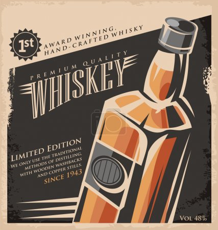 Illustration pour Whiskey vintage poster design template. Retro drink creative  promotional ad concept. Vector flyer or banner background layout. No gradients or effects, just fill colors. Old paper texture. - image libre de droit