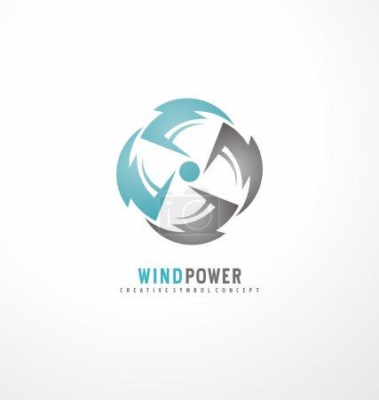 Illustration pour Modèle de conception de logo éolienne. Concept de symbole vectoriel de climatisation. Icône refroidisseur. Cercle des symboles de tonnerre avec ventilateur dans l'espace négatif . - image libre de droit