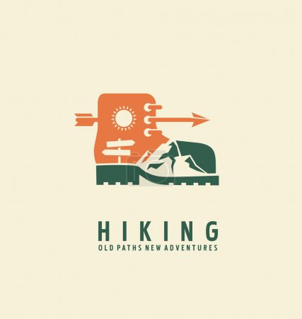 Illustration for Hiking logo design template. Adventure symbol vector concept. Boot with landscape in negative space. Unique icon idea for recreation theme. - Royalty Free Image