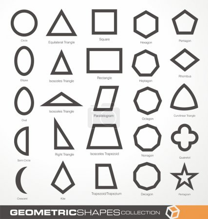 Illustration for Set of geometric shapes. Basic geometry objects vector collection. Math info graphic with geometric elements. Education and science  theme. Design elements collection. - Royalty Free Image