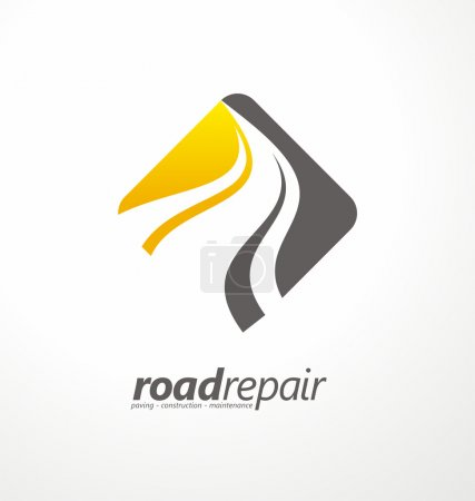 Illustration for Road maintenance creative sign concept. Paving logo design template. Construction vector icon idea with highway in negative space. Transportation and traffic theme. - Royalty Free Image