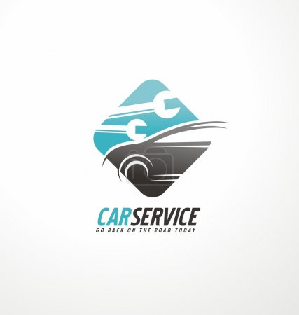 Illustration for Car abstract vector logo design concept. Transportation creative symbol layout. Auto service icon with tools in negative space. Car repair and auto parts theme. - Royalty Free Image