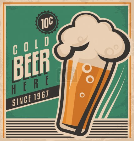 Illustration pour Modèle d'affiche vintage pour bière froide. Affiche vectorielle de bière rétro. Vecteur vieux papier texture nourriture et boisson concept de fond. Étiquette rétro ou design de bannière. Pas de dégradés et d'effets, il suffit de remplir les couleurs . - image libre de droit