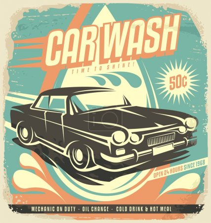 Illustration for Retro car wash poster design. Vintage classic car illustration template. Creative concept on old paper background. No gradients no effects just fill colors. - Royalty Free Image