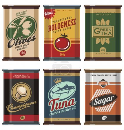 Illustration for Retro food cans design template creative concept. Vintage food can vector collection. No gradients, no transparencies, no drop shadow effects, only fill colors. - Royalty Free Image