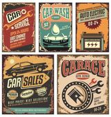 Vintage car service metal signs and posters vector Cars ads and banners retro 20th century collection Classic garage grunge metal signposts set Old-fashioned road station and car service layouts