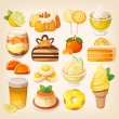 Set of delicious sweets and desserts with citrus f...