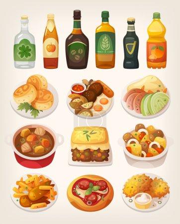 Illustration pour Ensemble de délicieux plats traditionnels colorés de la cuisine irlandaise . - image libre de droit