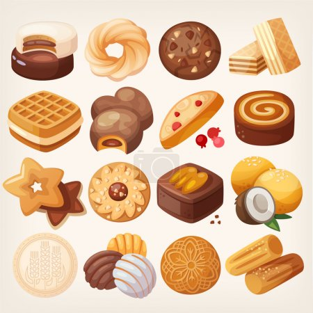 Cookies and biscuits icons set.