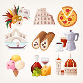 Stickers with sights and famous food of Italy