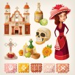 Set of items for day of the dead and calavera de l...